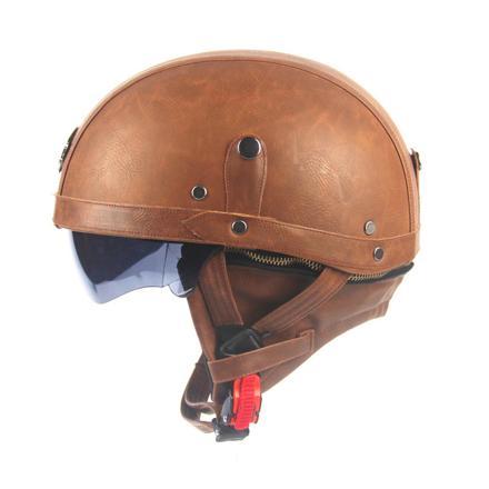 casque moto cuir vintage