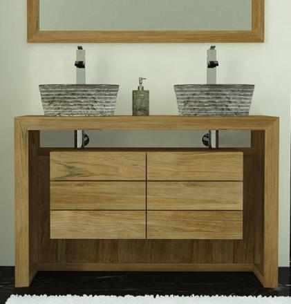 meuble salle de bain teck 120