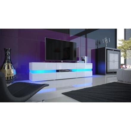 meuble tv led blanc laqué