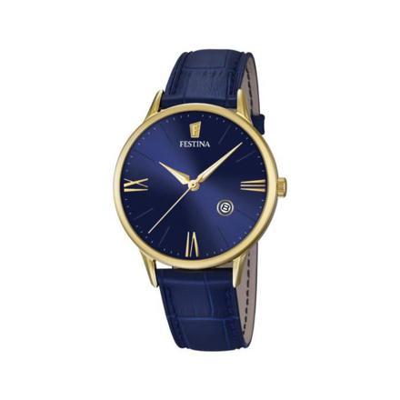montre homme bleu et or