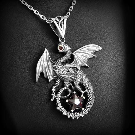 pendentif dragon argent