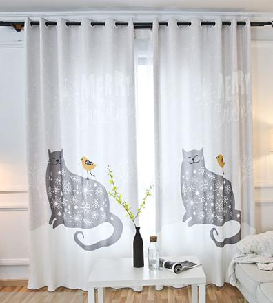 rideau motif chat