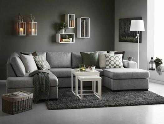 salon design gris et blanc