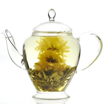 théière en verre pour fleur de thé
