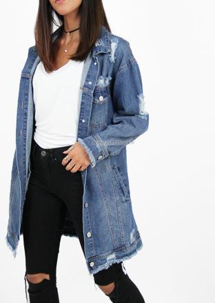 veste en jean longue dechire